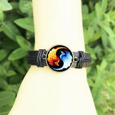 mm Glass Cabochon Leather Charm Bracelet Dragons Yin Yang black Bangle 20