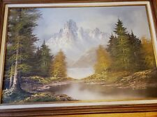VTG Original Oil Painting On Canvas Framed Landscape Mountain Signed B. Chipton