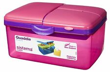 Sistema Large Pink Quaddie 4 Compartment Lunch Box 2 Ltr BPA Free