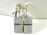 Puppy Dog Present in a box with Bow AJC Vintage Brooch Pin