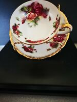 Chase Cup and Saucer Footed teacup Gold trimmed Hand Decorated