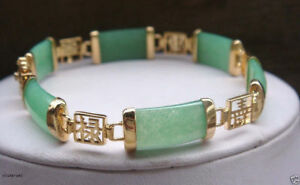 """Pretty Natural Green Jade Gemstone Gold Plated Fortune Lucky Link Bracelet 7.5"""""""