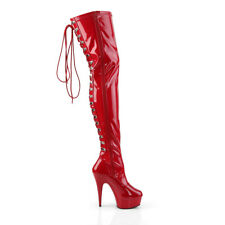 """Delight 3063 Back Lace Thigh High Platform Boots 6"""" High Heels Red Patent"""