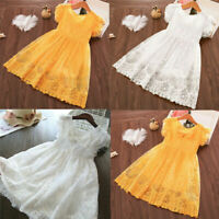 Baby Kids Girls Fashion Fly Sleeve Bow Flower Lace Party Dress Princess Dress
