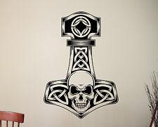 Thor Hammer Wall Sticker Mjolnir Vinyl Decal Viking Superhero Bedroom Decor 3thr