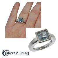 PIERRE LANG Bague en rhodium argenté et cristal bleu T 50 bijou
