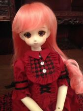 BJD MSD (7-8in) Wig Long Pink Curled bottom with Bangs Fiber Brand New