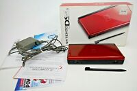 Nintendo DS Lite Crimson Red Handheld System w/ Box, Charger, & Inserts