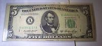 1950 A FIVE DOLLAR US FEDERAL RESERVE NOTE  SER# A 46843153 A