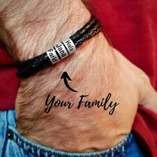 Men's Leather Bracelet Custom names Stainless steel Magnetic Family Kids Father