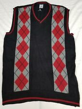 Air Jordan knitted v-neck vest pullover men sz 2XL black/red/grey