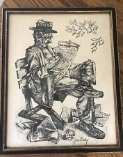 """JIM DALY mounted Print Hobo Reading Racing Form """"Still Trying"""" 22""""x 17"""" Vintage"""