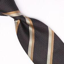 Gladson Mens Silk Necktie Black Brown Gray Stripe Textured Weave Woven Tie Italy
