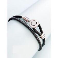 Original S925 Sterling Silver, Moments Double Leather Bracelet, Black Leather