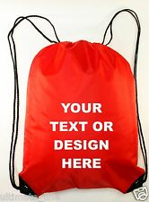 Personalised Red Drawstring Bag Sack Gym PE Swim Gym  School Print Waterproof