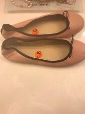 J Crew Emma Blush Pink Leather Bow Ballet Flats Shoes Black Women's NEW 9.5