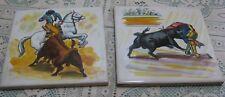 "2 Vintage ONDA Hand Painted Tiles Matador Toro Bullfight Made In Spain 5 7/8"""
