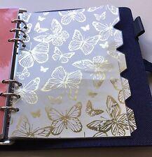 Filofax/Kikki A5 Organisateur Planificateur-gold butterfly Diviseurs-Laminé