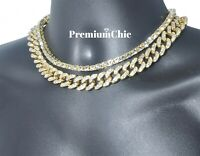 "16"" Tennis Chain & 18"" Miami Cuban Choker COMBO SET Hip Hop Mens Quavo Necklace"