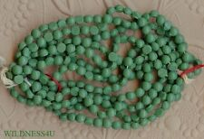 48 VINTAGE Glass Leaf Green matte BUTTONS NAILHEAD BEADS SEW ONS DOLL 4mm lot