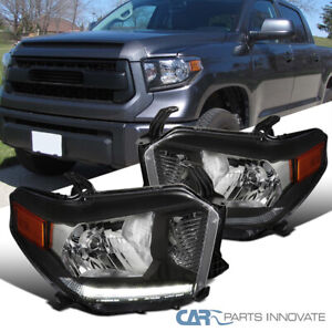 For 14-20 Toyota Tundra Pickup Black LED DRL Strip Headlights Lamps Left+Right