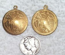 VINTAGE ENGRAVED SURFACE BRASS STAMPINGS /RING NICE 8 PIECES CHARM/EARRINGS/LEAF