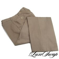 Valentini Made in Italy Tan Horizontal Ribbed Twill Flat Front Pants Trousers 36