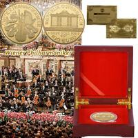 WR Wiener Musikorchester-Gedenkmünze mit Holzkisten-Sammlungs-Geschenken