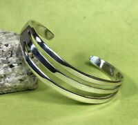 Vintage Mexico 925 Sterling Silver Cuff Bracelet Solid 21grams Fine Jewelry