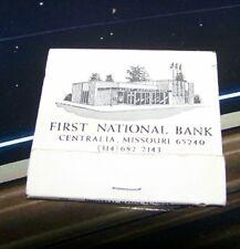 Rare Vintage Matchbook First National Bank Centralia Missouri Mini Motor