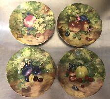 Vintage Limoges Rochard Fruit Scalloped Side Plates x 4