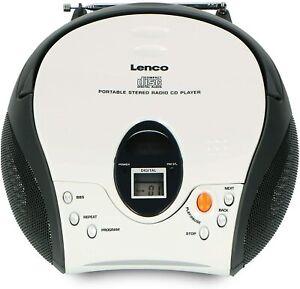 Lenco SCD-24 Stereo FM Radio mit CD Player und Teleskop Antenne Weiss
