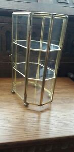 Vintage Brass And Glass Curio Display Cabinet