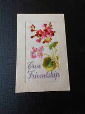 Embroidered Silk postcard, True Friendship