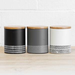 3 x Monochrome Kitchen Storage Canisters Tea Coffee Sugar Set Tins Jars Caddies