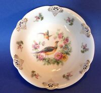Schumann Bavaria Pheasant Bowl With Reticulated Pierced Gilded Accents - Germany