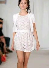 Designer Agnes B broderie dress size 42 UK12 --NEW WITH TAGS-- white 100% cotton
