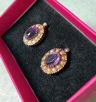 Antique Italian 19th Century Amethyst and Seed pearls gold earrings