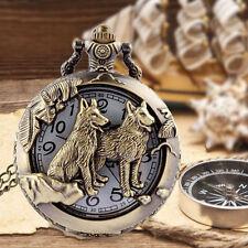 Antique Bronze Hollow Dog Theme Pocket Watch Quartz Necklace Chain Pendant Gifts
