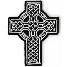Embroidered Celtic Design Cross Sew or Iron on Patch Biker Patch