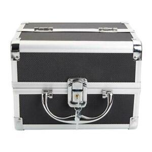 """Aluminum Makeup Organizer Bag Lock Key Mirror Black 2 Extendable Trays 10""""x8""""x7"""""""