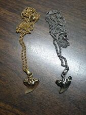 Pair Fossil Shark Tooth Necklaces 1 goldtone 1 silvertone-each handmade by Nina