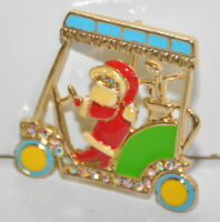 Mrs. Santa Claus Driving Golf Cart Pin Christmas Brooch Gold Tone Rhinestones