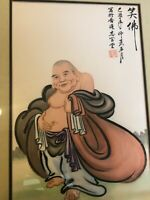 Vintage Chinese Happy Buddha Original Watercolor on Silk, Framed, Signed