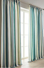 Hampton Striped Pair Of Tape Top Lined Ready Made Contemporary Stripe Curtains