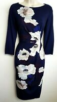PHASE EIGHT JERSEY PENCIL DRESS UK8 NAVY BLUE WHITE PINK FLORAL    #P8/0052