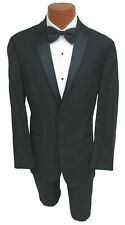 Men's Black Perry Ellis Madison Tuxedo with Pants Formal Wedding Prom Cruise 40L