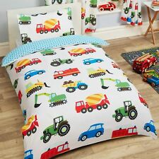 TRUCKS & TRANSPORT SINGLE DUVET COVER SET CARS FIRE ENGINE BOYS - 2 IN 1 DESIGN