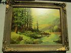 """Vtg Robert Wood """"Mountain Stream"""" Litho Print Framed Mid Century 12x16"""""""
