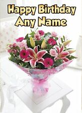 Personalised flowers birthday card any name/age female girl daughter cards